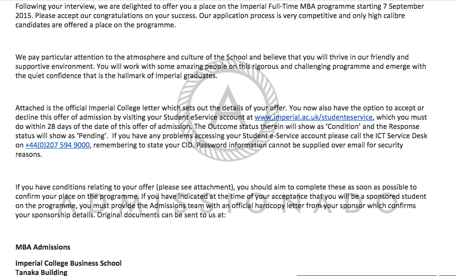 Imperial Acceptance Letter