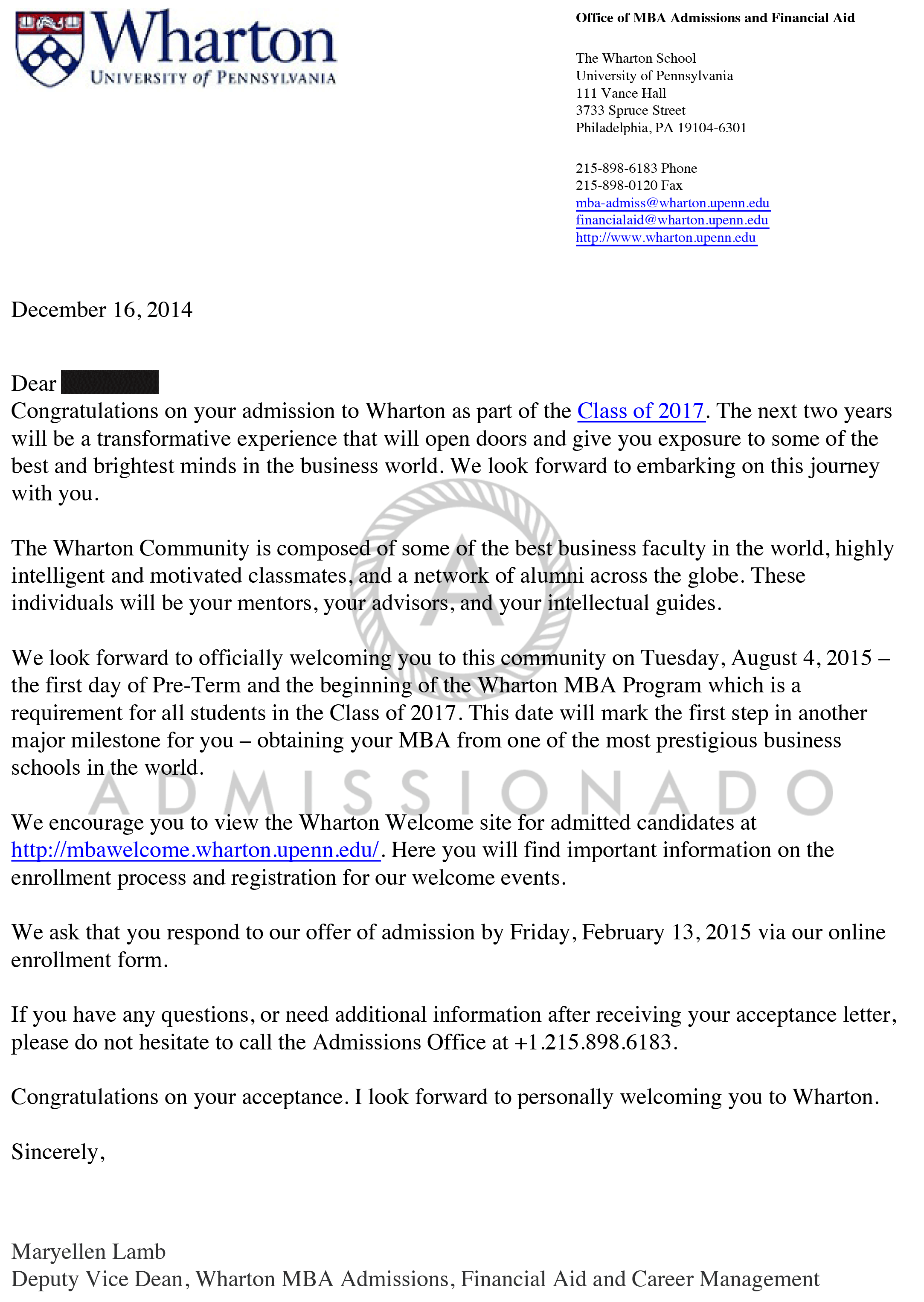 Wharton School of Business Offer Letter