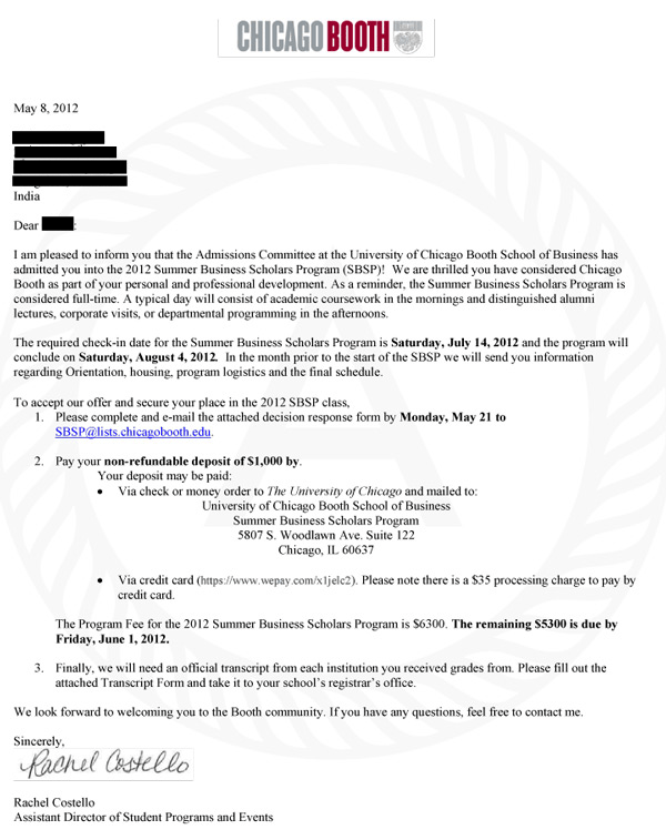 Booth Acceptance Letter