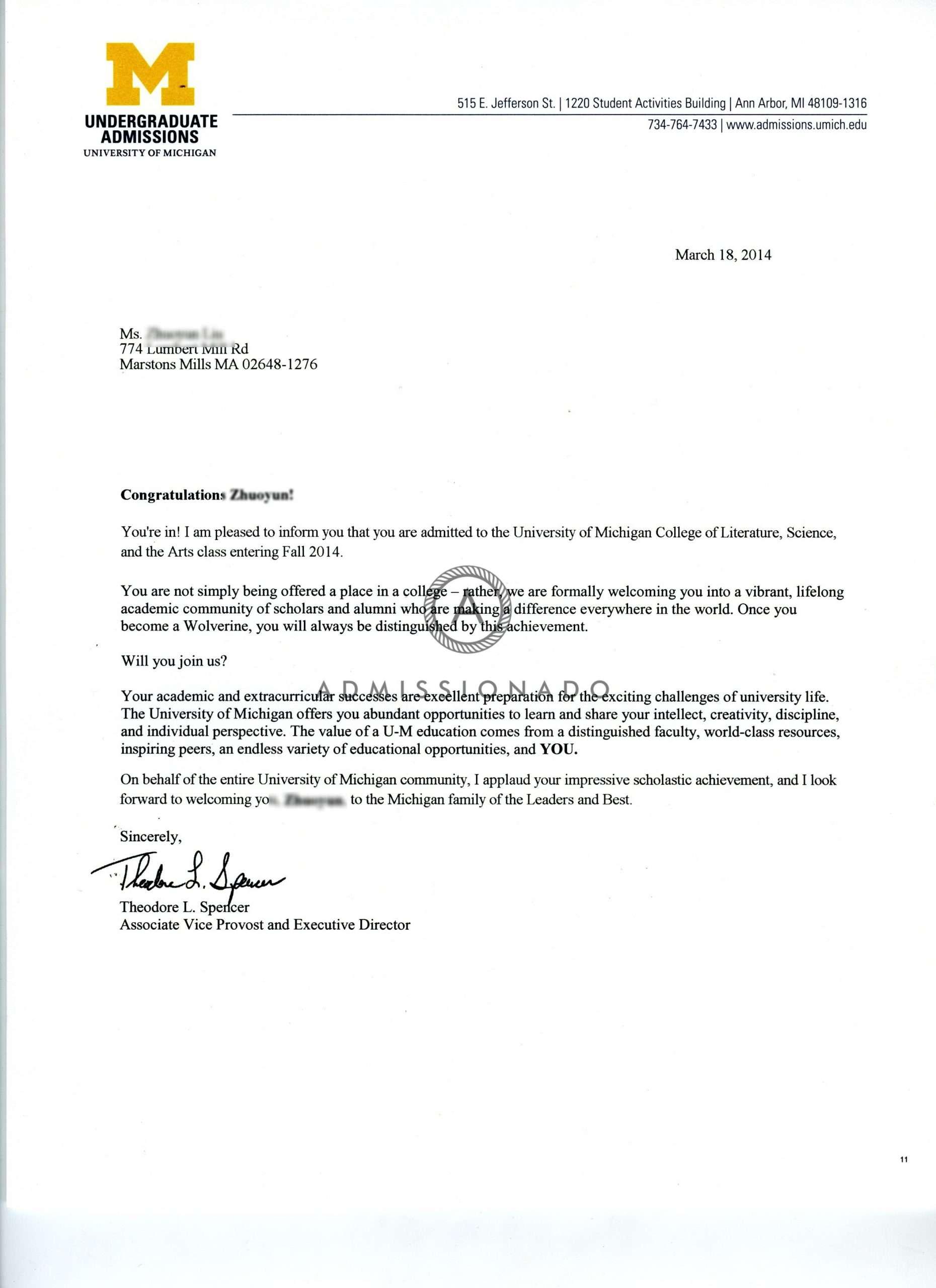 Unv of Michigan acceptane letter