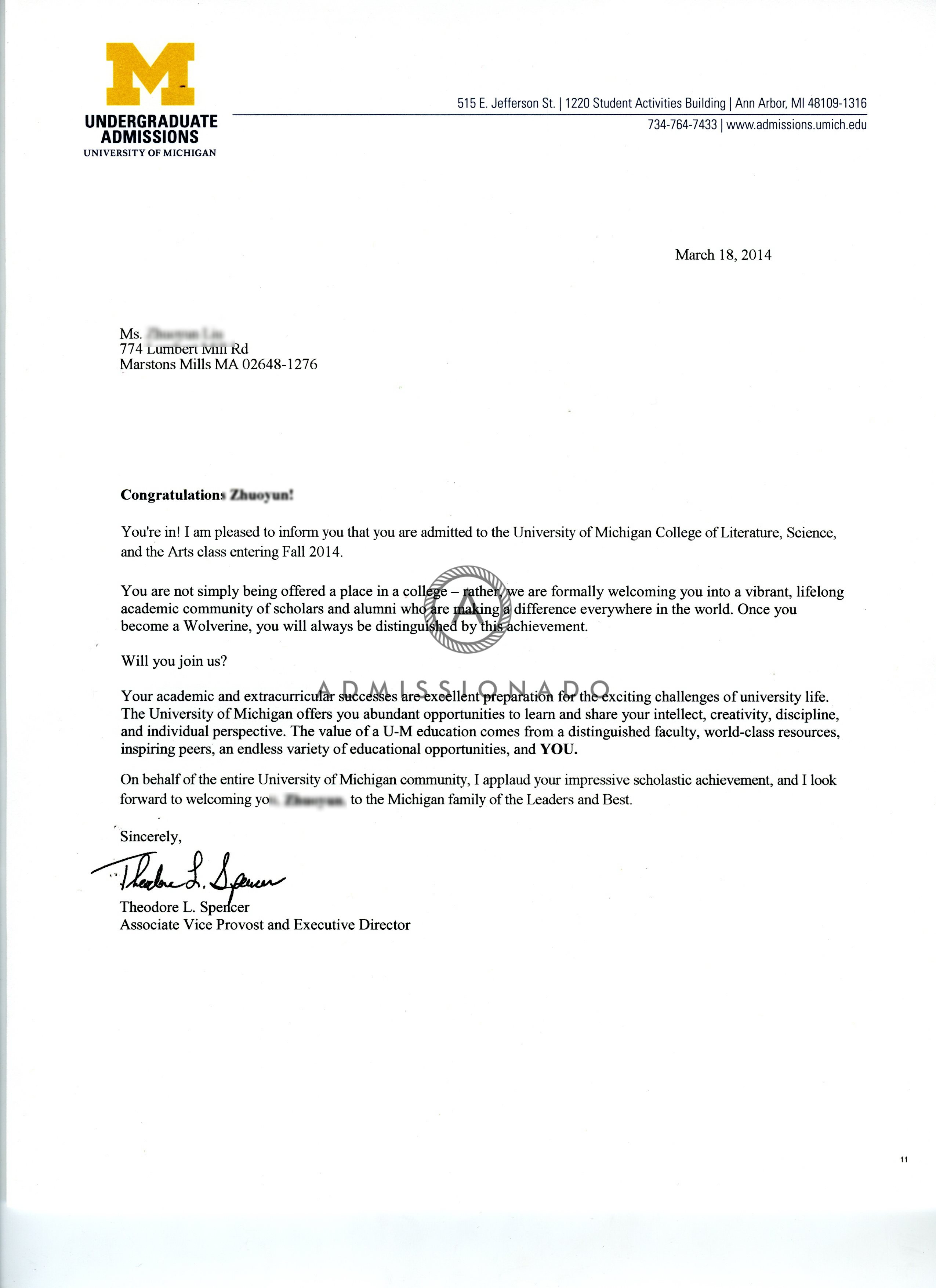 Unv of Michigan acceptane letter