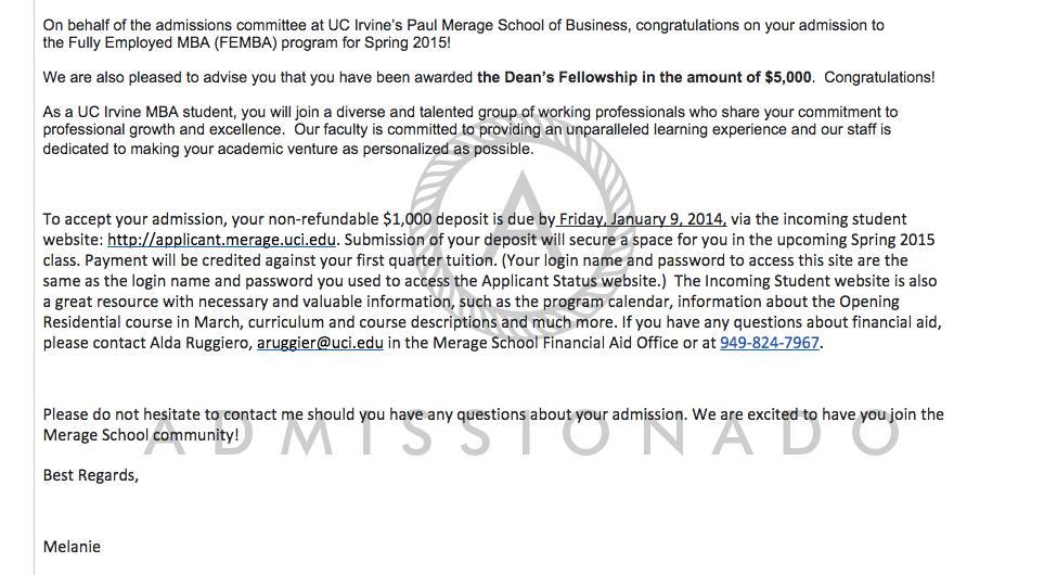 Merage acceptance letter