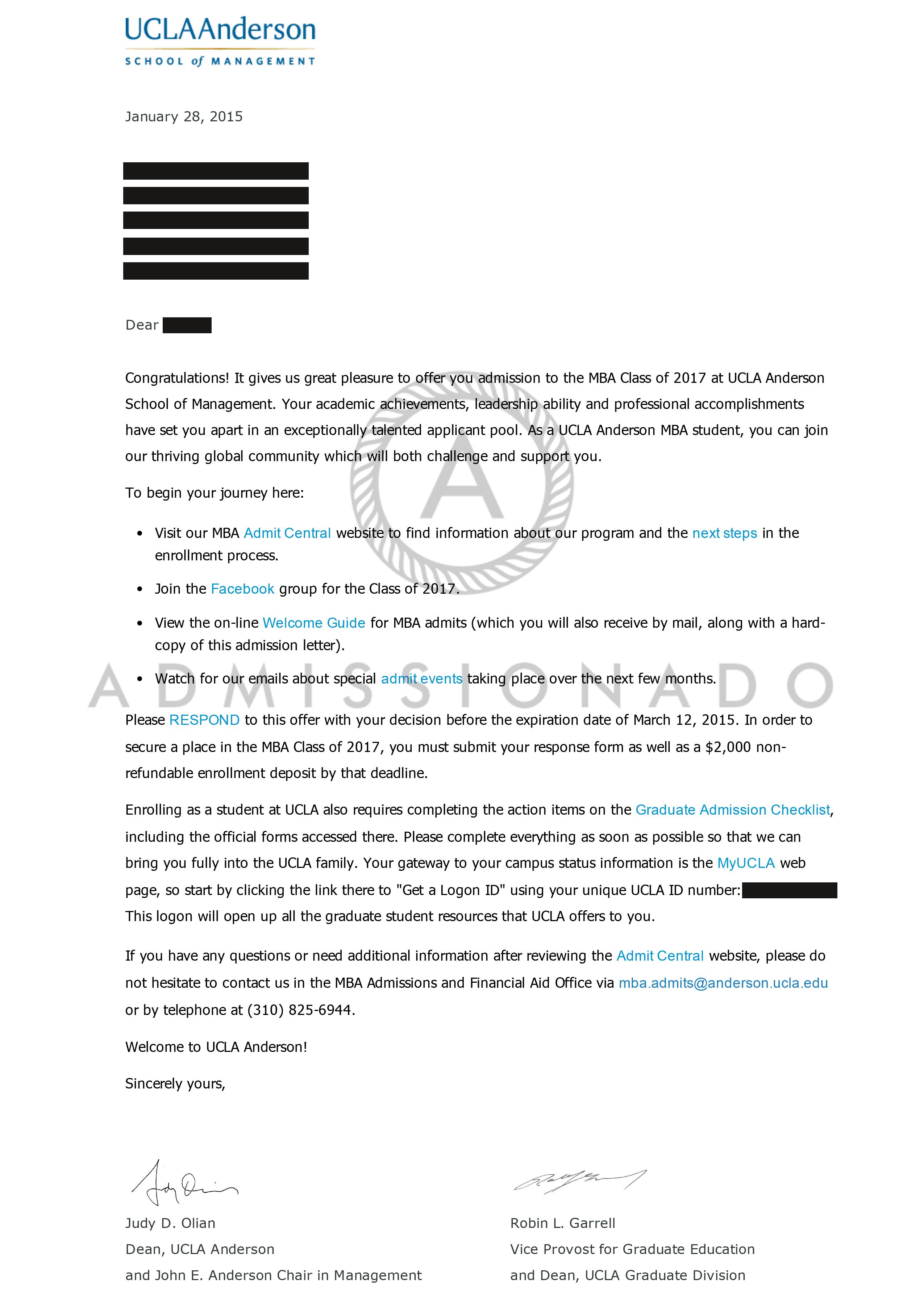 UCLA ANdreson Offer Letter