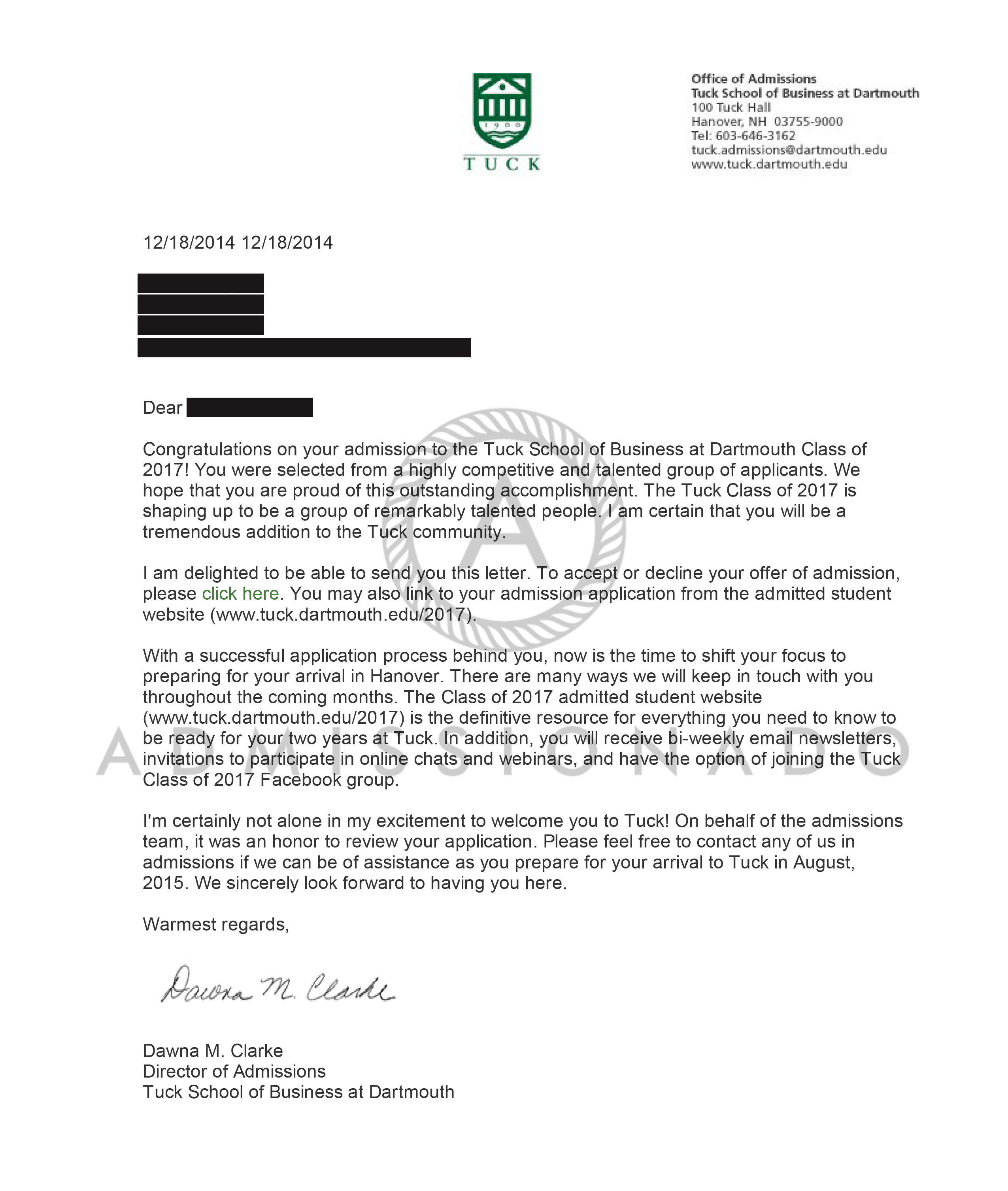 Tuck Acceptance Letter