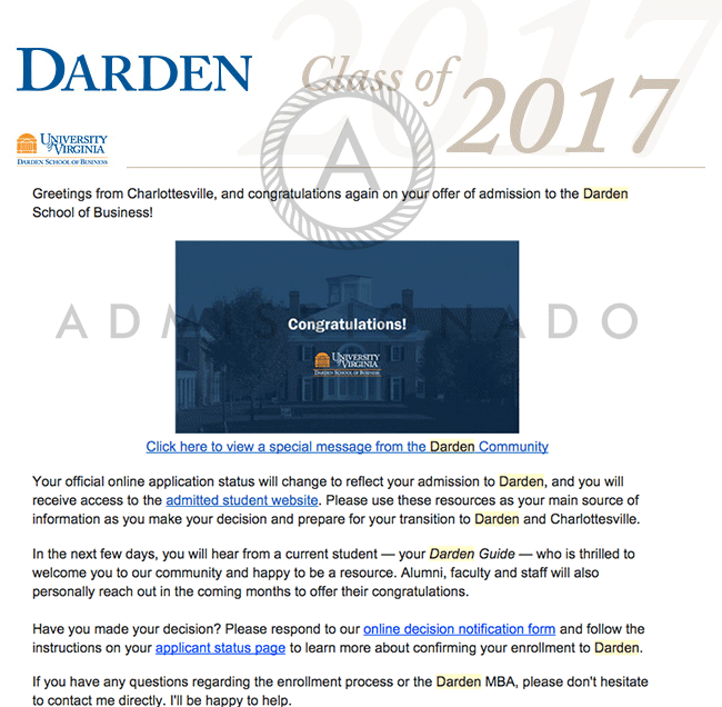 Darden SChool of Business Offer Letter