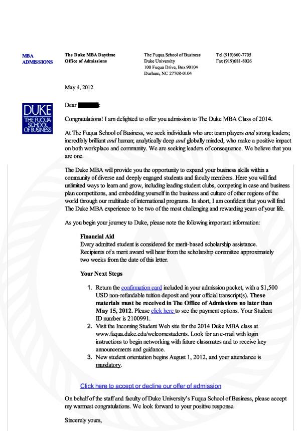 Duke acceptance letter