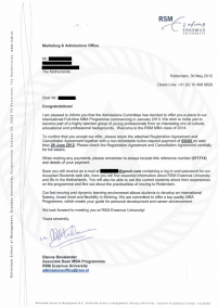 Erasmus acceptance letter