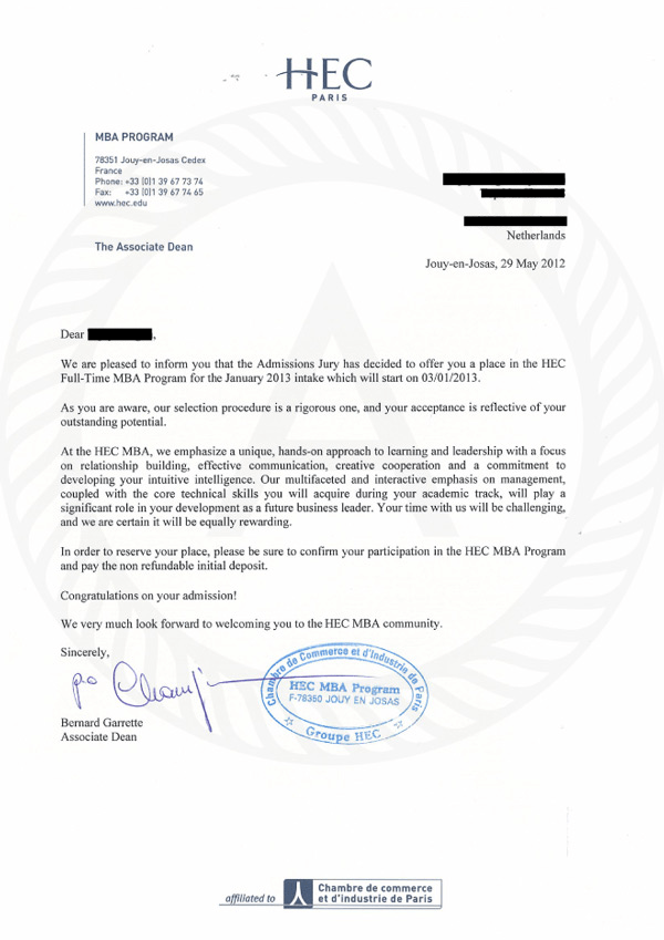 HEC Paris Offer letter
