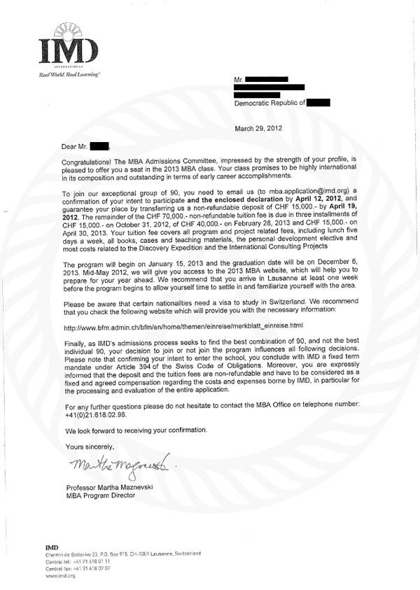 IMD Offer Letter