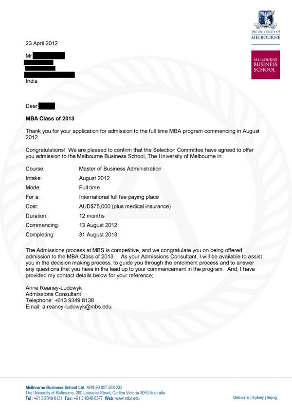 Melbourne Acceptance Letter