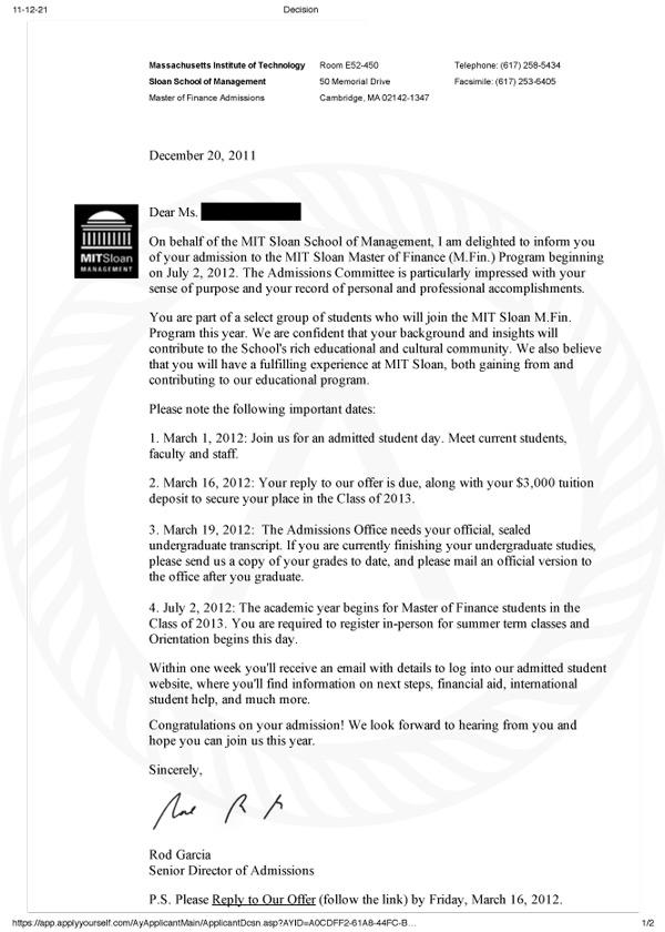 MIT Acceptance Letter