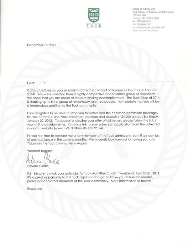 Tuck Aceptance Letter