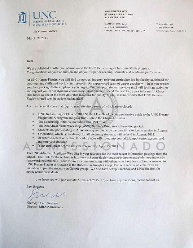 UNC acceptance letter