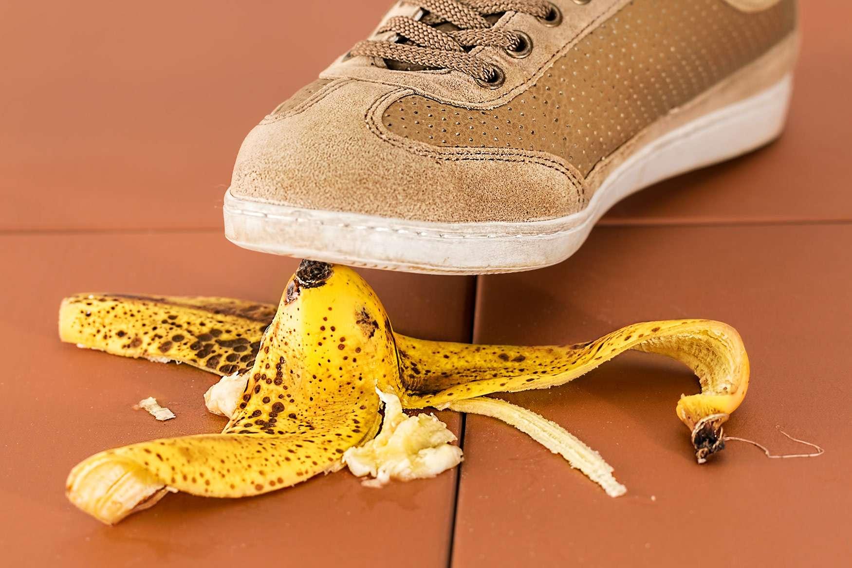 Stepping on a banana
